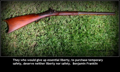 musket with quote from B Franklin